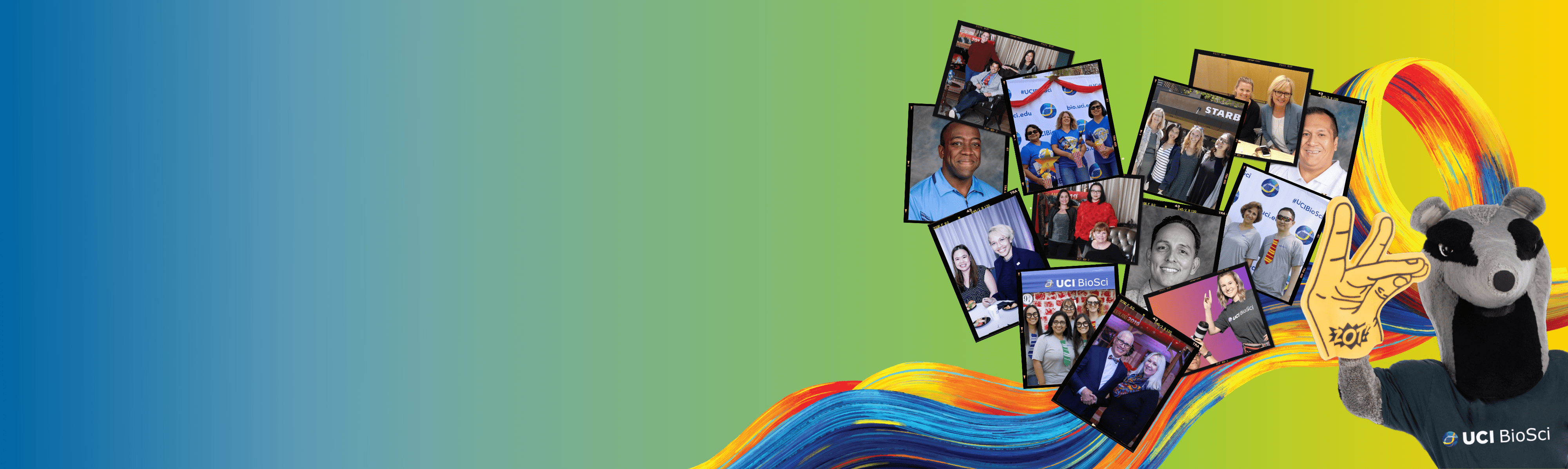 Biosci Staff collage with the anteater mascot in the bottom right corner all in front of a surge on a gradient blue to yellow background