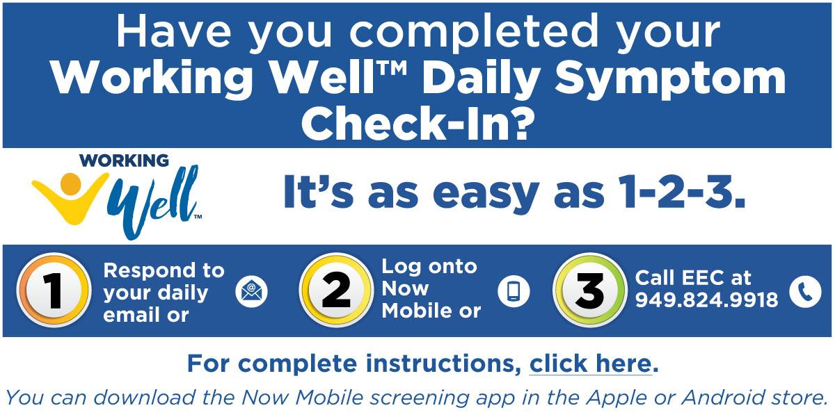 UCI Symptom check instructions