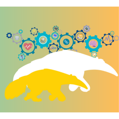Green to orange gradient background with gears that hold images of scientific symbols all behind a white and yellow anteater shape that are layered over each other