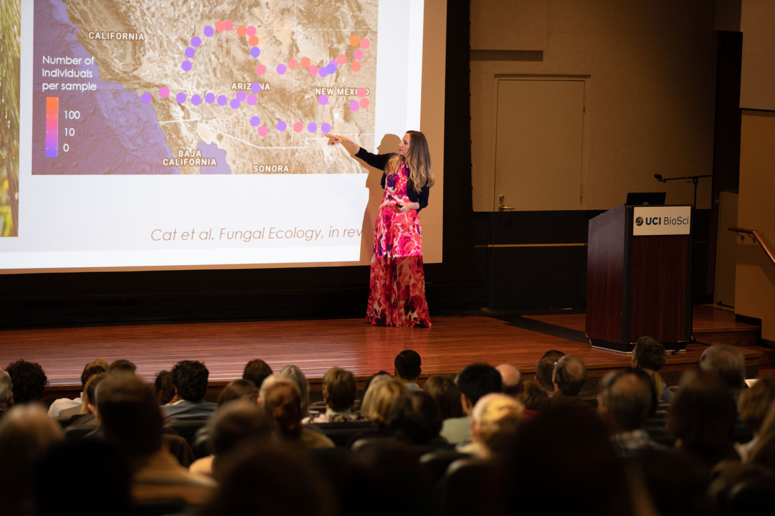 Photo of Kathleen Treseder, PhD. giving a lecture at a Deans Distinguished Lecture