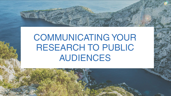 Communicating Your Research Banner with a background of a cliff next to a body of water