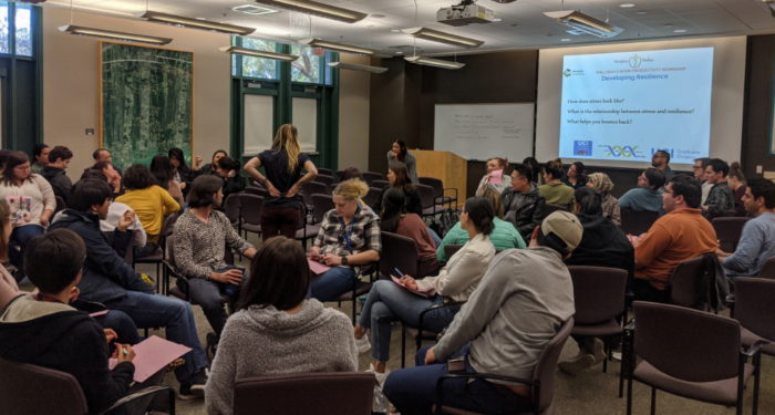 People sitting in groups at an event for the Post Doc Academy at UCI