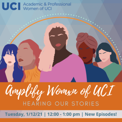 Digital image of women for an Amplify Women of UCI: Hearing Our Stories poster. New episodes Tuesday, January 12, 2021 from 12-1pm.