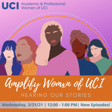 Amplify Womxn of UCI flyer: There are 5 women of different ethnicities with the program title and tagline