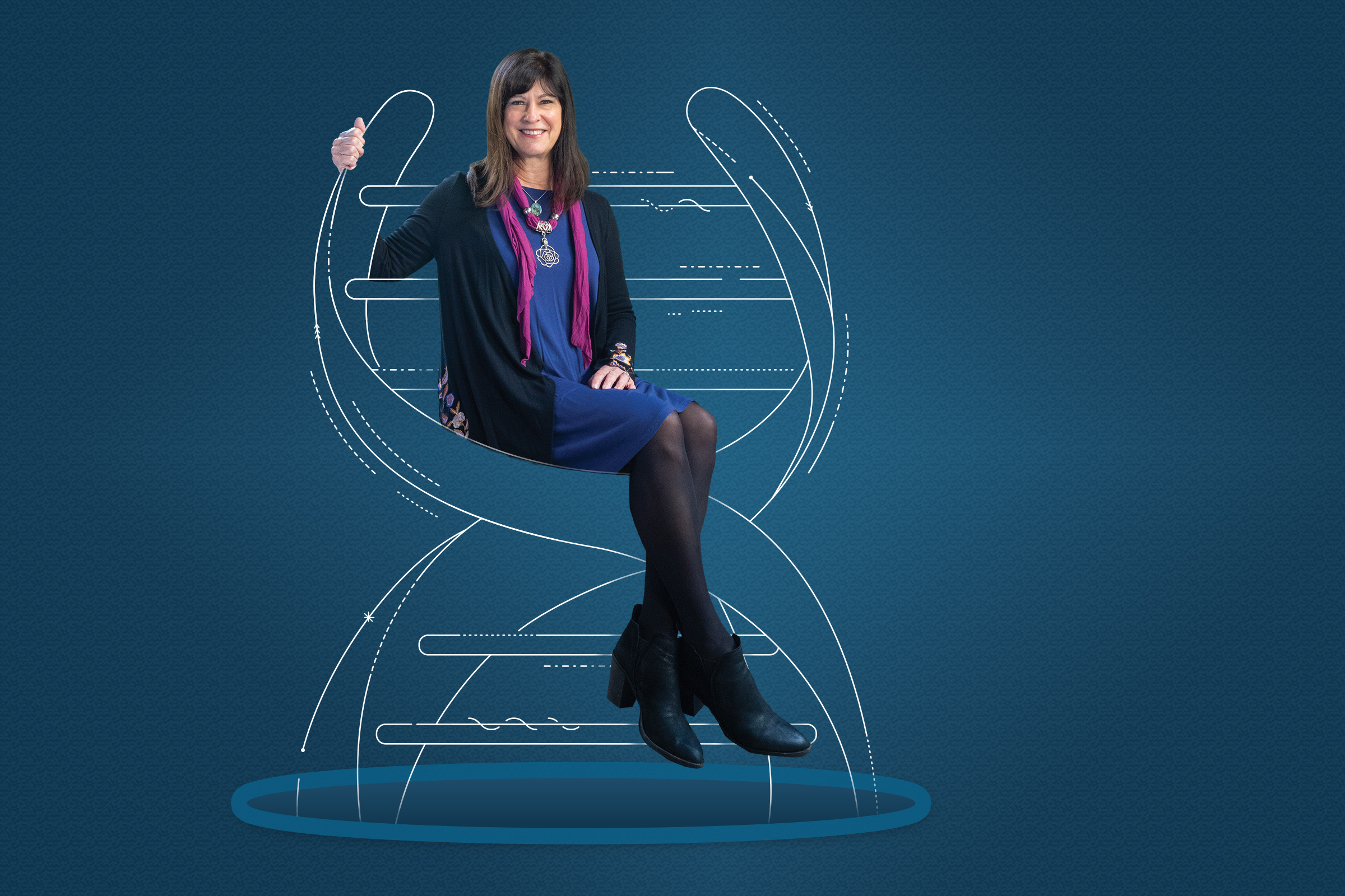Cover image of Rising Tide Magazine. Leslie Thompson is sitting on a double helix DNA against a blue background.