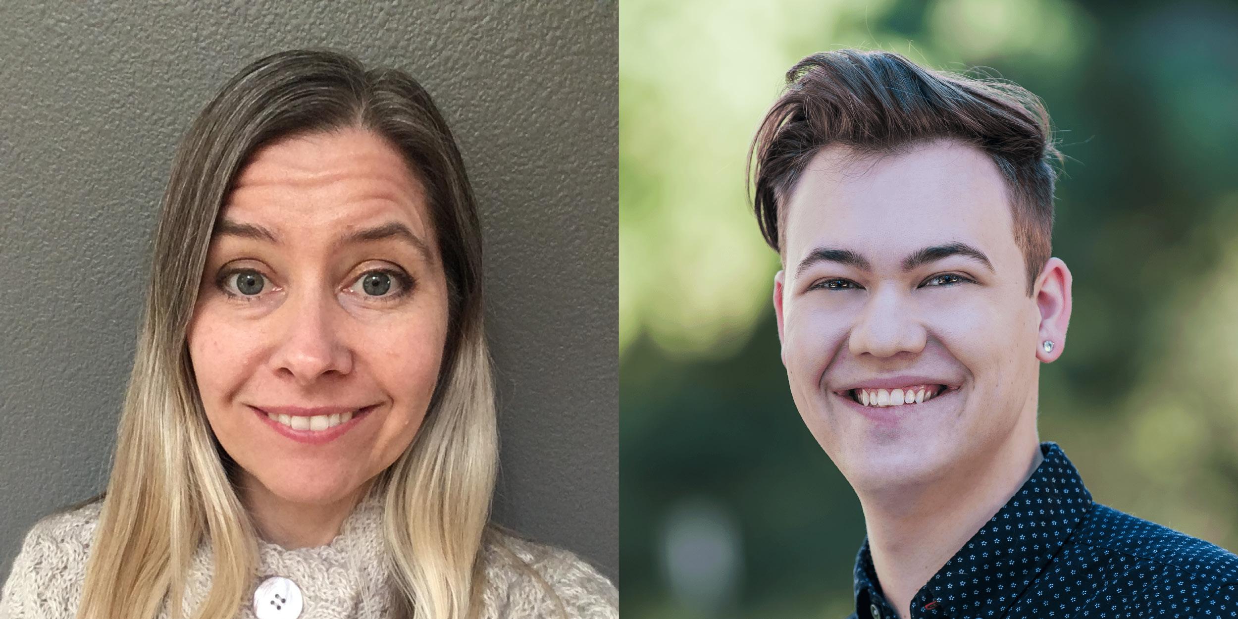 Headshots of Professor Rachel Martin and Student TJ
