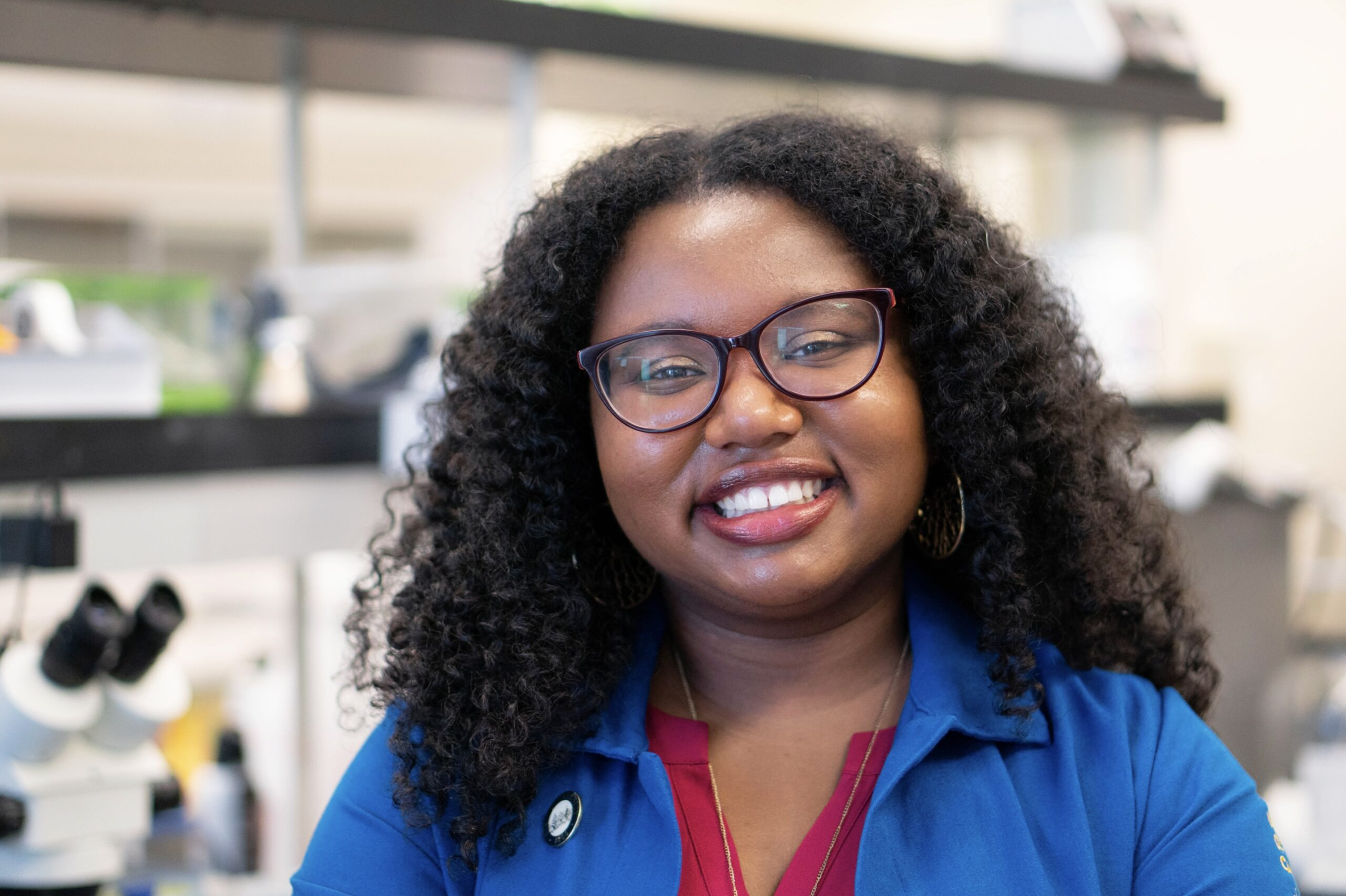 Graduate student Angeline Dukes in the lab.