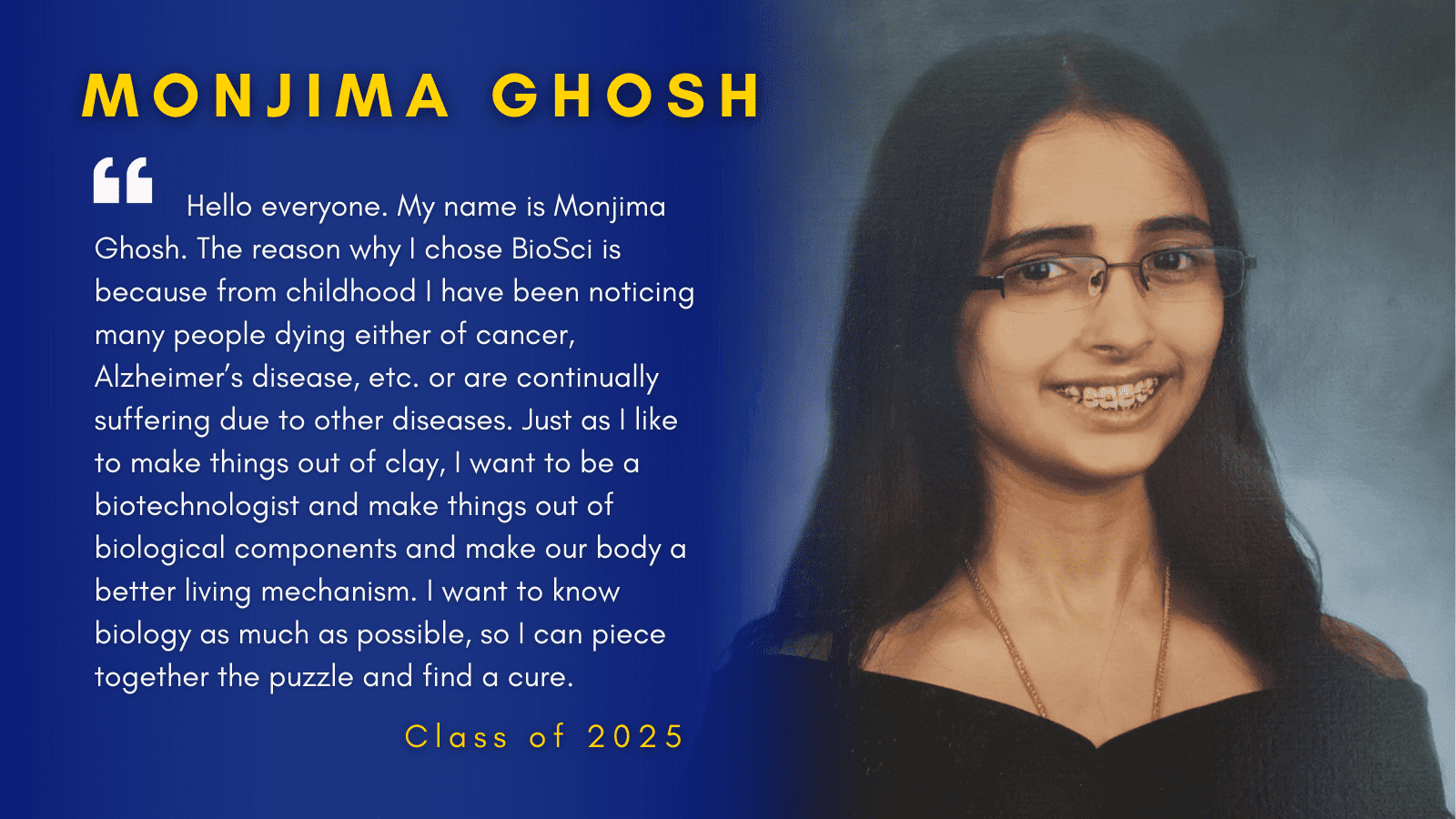 Image of Monjima Ghosh with her quote.