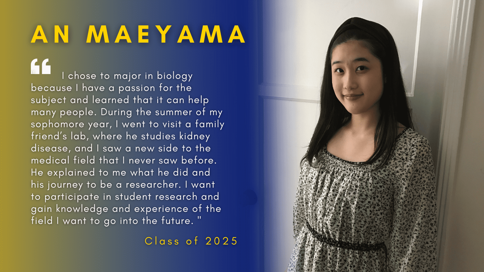 Image of An Maeyama with her quote.