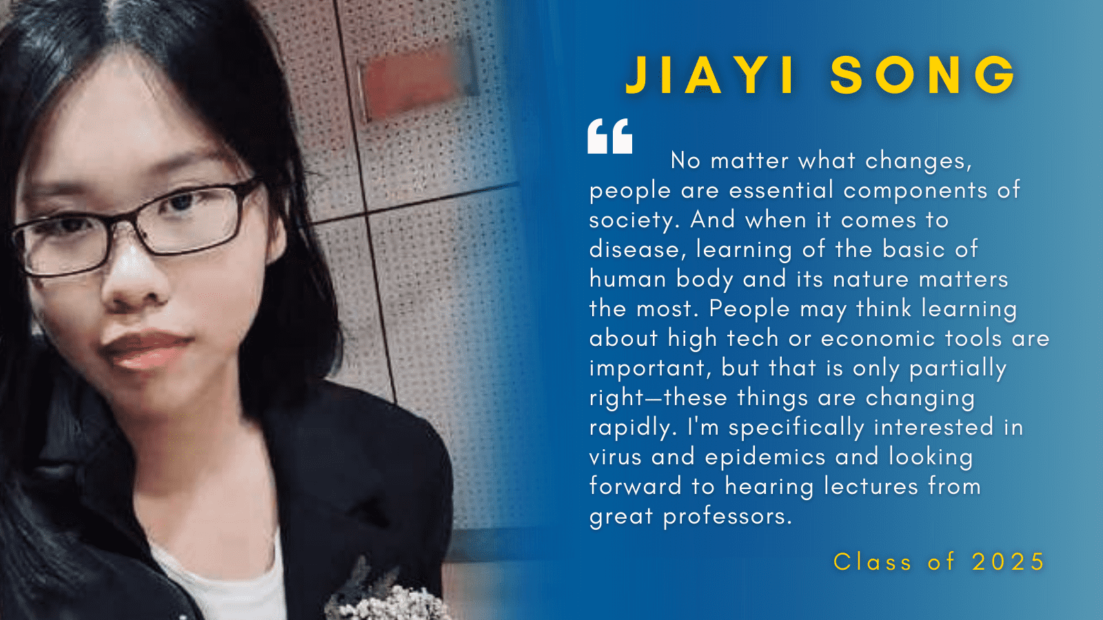 Image of Jiayi Song with her quote.