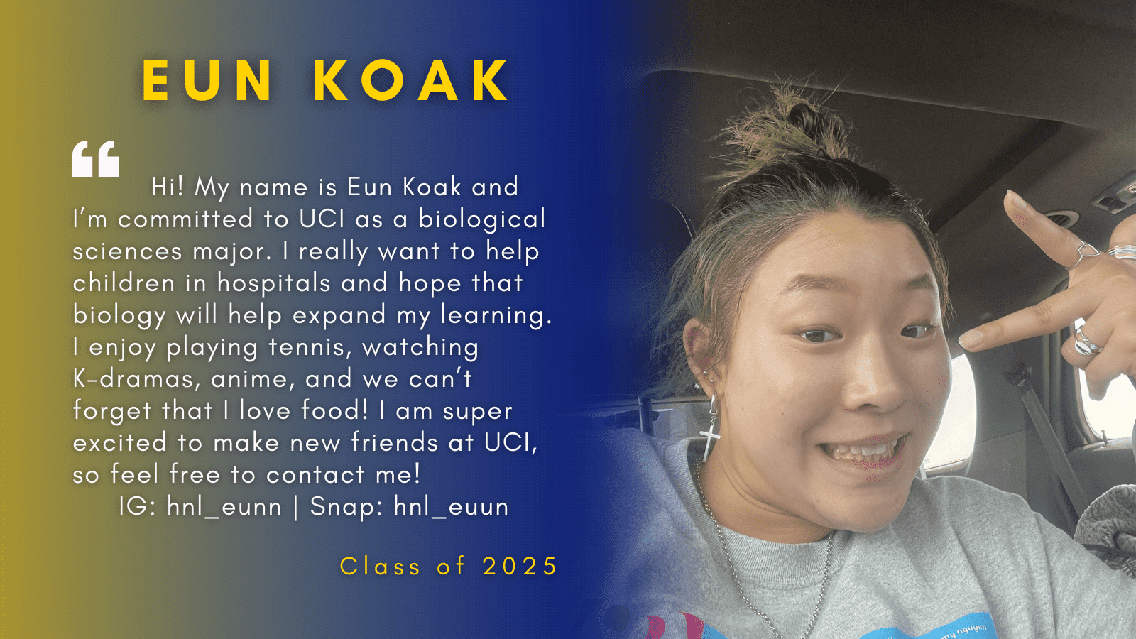 Image of Eun Koak with her quote.