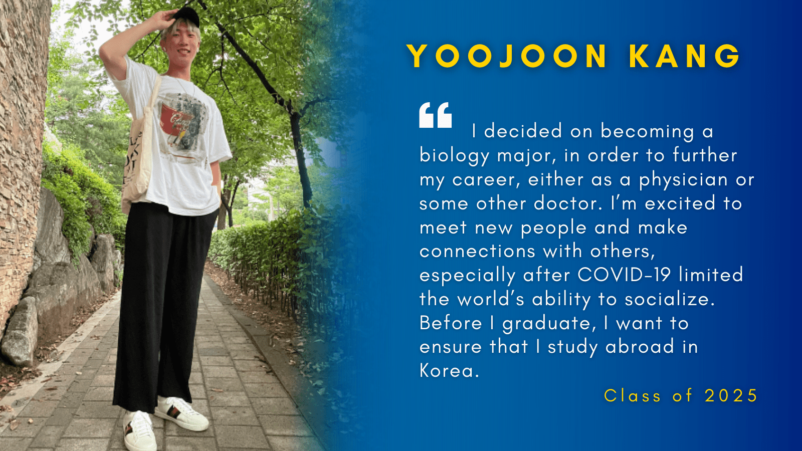 Image of Yoojoon Kang with his quote.