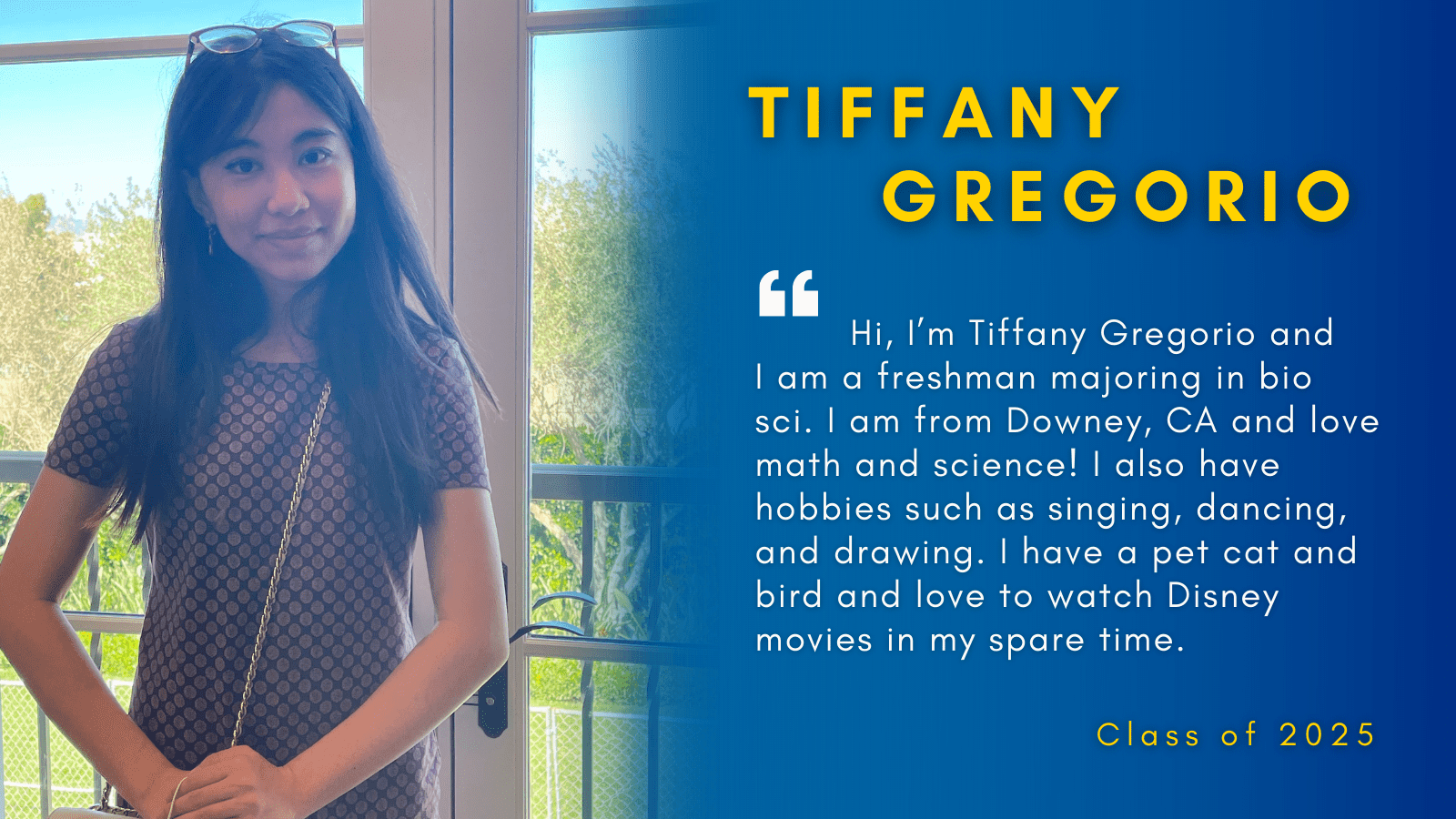 Image of Tiffany Gregorio with her quote.