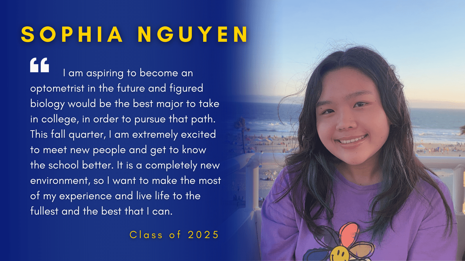 Image of Sophia Nguyen with her quote.