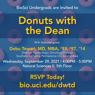 Invitation to Donuts with the Dean event. Donuts in the background, Date, Location and Time listed as well.